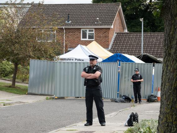 Police outside Sergei Skripal's house in Salisbury (Getty)