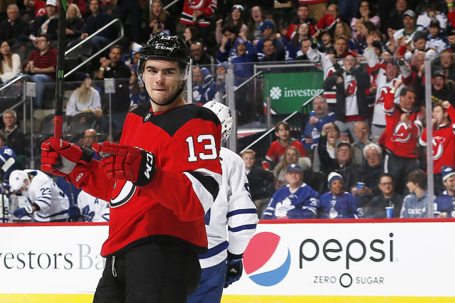 Nico Hischier has been hot of late, so it's time he's rostered in more Yahoo Fantasy Hockey leagues. (Photo by Andy Marlin/NHLI via Getty Images)
