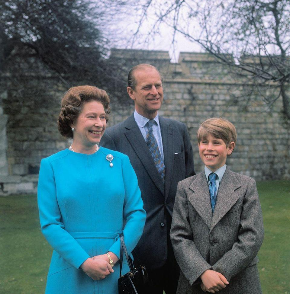 <p>The Queen Elizabeth, with her husband, the Duke of Edinburgh, and their son, Prince Edward in 1976. </p>