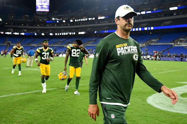 The Packers will reportedly play shorthanded vs. the Raiders in Canada because of concerns over turf conditions. (Getty)