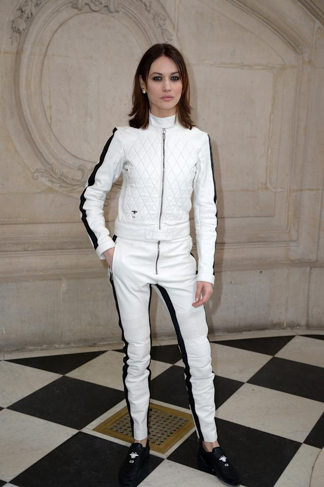 <p>Olga looked completely fierce in a fencing-inspired suit from the Parisian house's SS17 collection. <i>[Photo: Getty]</i> </p>