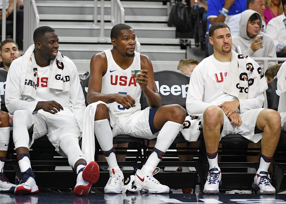 Draymond Green (left) and Klay Thompson (right) both helped recruit Kevin Durant to the Warriors. (Getty Images)