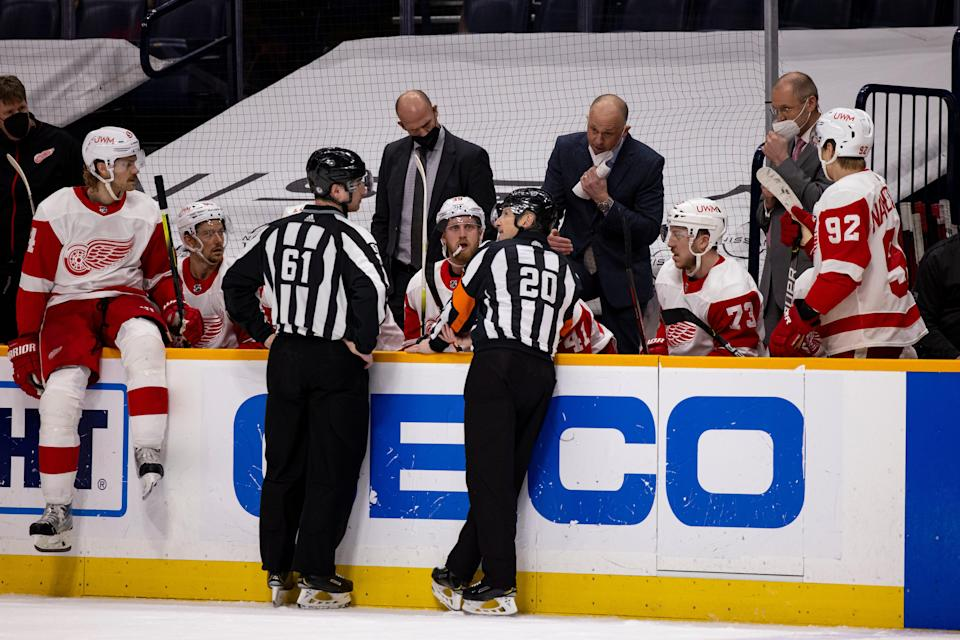 TIm Peel (20) will no longer be officiating NHL games after being caught making an unprofessional comment during Tuesday's game between the Red Wings and Predators.