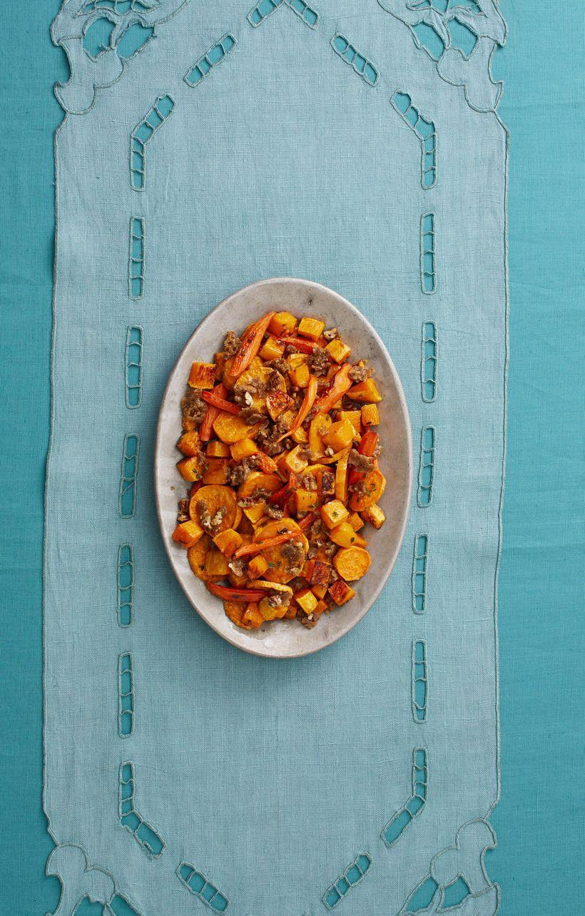 "<p>Toss seasonal vegetables together with a sweet pecan crumble to make this unique side.</p><p><strong><a href=""http://www.thepioneerwoman.com/food-cooking/recipes/a33251632/roasted-vegetables-with-pecan-crumble-recipe/"" rel=""nofollow noopener"" target=""_blank"" data-ylk=""slk:Get the recipe."" class=""link rapid-noclick-resp"">Get the recipe.</a></strong></p><p><a class=""link rapid-noclick-resp"" href=""https://go.redirectingat.com?id=74968X1596630&url=https%3A%2F%2Fwww.walmart.com%2Fbrowse%2Fhome%2Fserveware%2Fthe-pioneer-woman%2F4044_623679_639999_2347672%3Ffacet%3Dbrand%253AThe%2BPioneer%2BWoman&sref=https%3A%2F%2Fwww.thepioneerwoman.com%2Ffood-cooking%2Fmeals-menus%2Fg33251890%2Fbest-thanksgiving-sides%2F"" rel=""nofollow noopener"" target=""_blank"" data-ylk=""slk:SHOP SERVING BOWLS"">SHOP SERVING BOWLS</a></p>"
