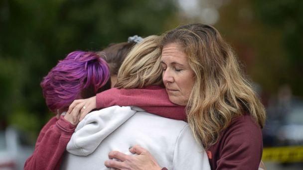 PHOTO: From left, Cody Murphy, 17 Sabrina Weihrauch, and Amanda Godley, left, comfort one another after an active shooter situation at Tree of Life Synagogue in Pittsburgh, Oct. 27, 2018. (Andrew Stein/Pittsburgh Post-Gazette via AP)