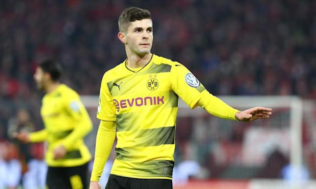 "<span class=""element-image__caption"">Dortmund's <a class=""link rapid-noclick-resp"" href=""/soccer/players/christian-pulisic/"" data-ylk=""slk:Christian Pulisic"">Christian Pulisic</a> has been linked to a pair of Premier League giants.</span> <span class=""element-image__credit"">Photograph: TF-Images/Getty Images</span>"