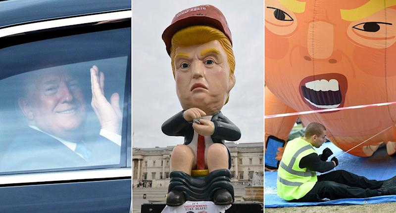 Donald Trump will be greeted by two separate effigies during protests at his state visit today (Pictures: PA)