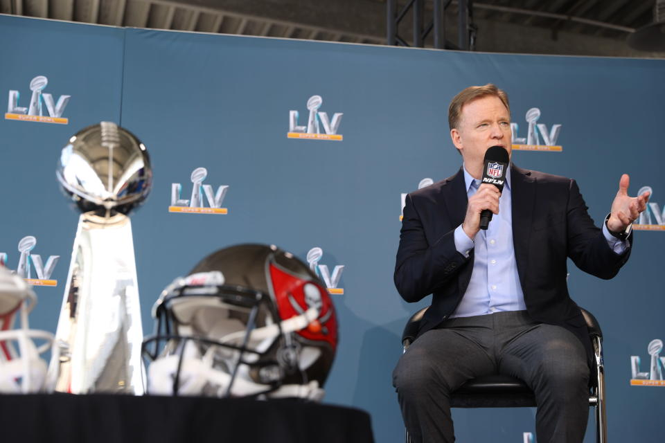 NFL commissioner Roger Goodell speaks during a press conference ahead of Super Bowl LV, Thursday, Feb. 4, 2021 in Tampa, Fla. (Perry Knotts via AP)