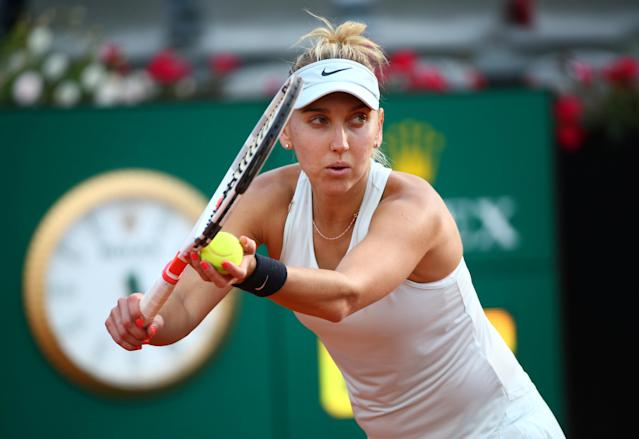 Tennis - WTA Premier 5 - Italian Open - Foro Italico, Rome, Italy - May 16, 2018 Russia's Elena Vesnina in action during her second round match against Venus Williams of the U.S. REUTERS/Alessandro Bianchi