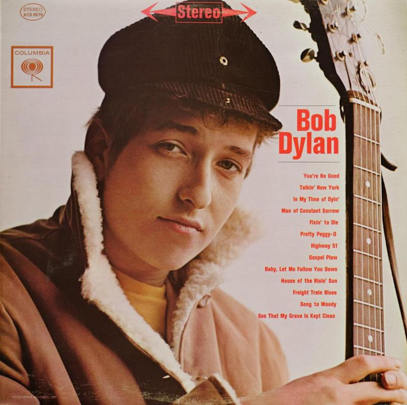 Bob Dylan on the cover of his first album.