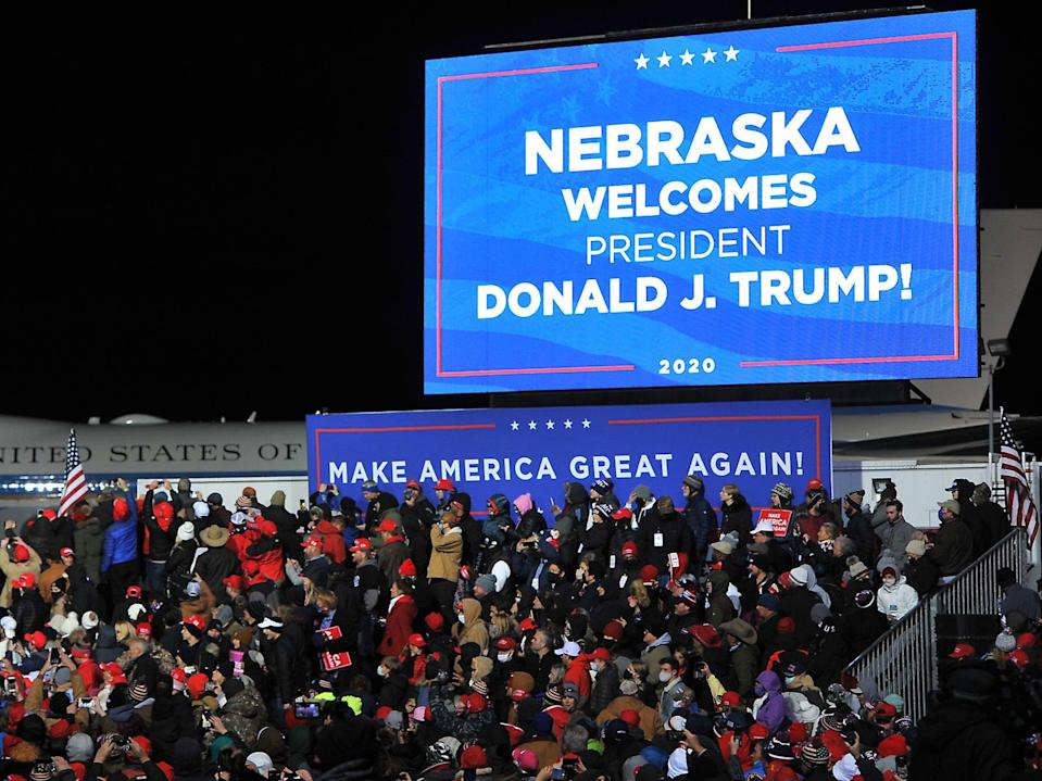 Supporters wait to watch Donald Trump speak at a campaign rally on 27 October 2020 in Omaha, Nebraska (Steve Pope/Getty Images)