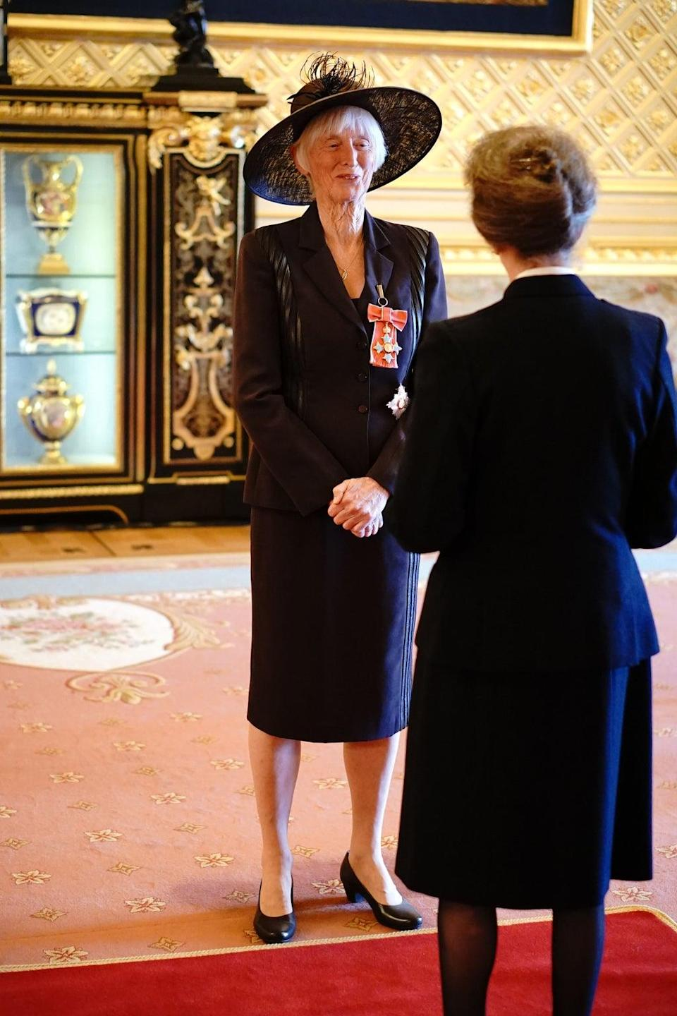 Baroness Campbell of Loughborough is made a Dame Commander of the British Empire by the Princess Royal at Windsor Castle (Jonathan Brady/PA) (PA Wire)