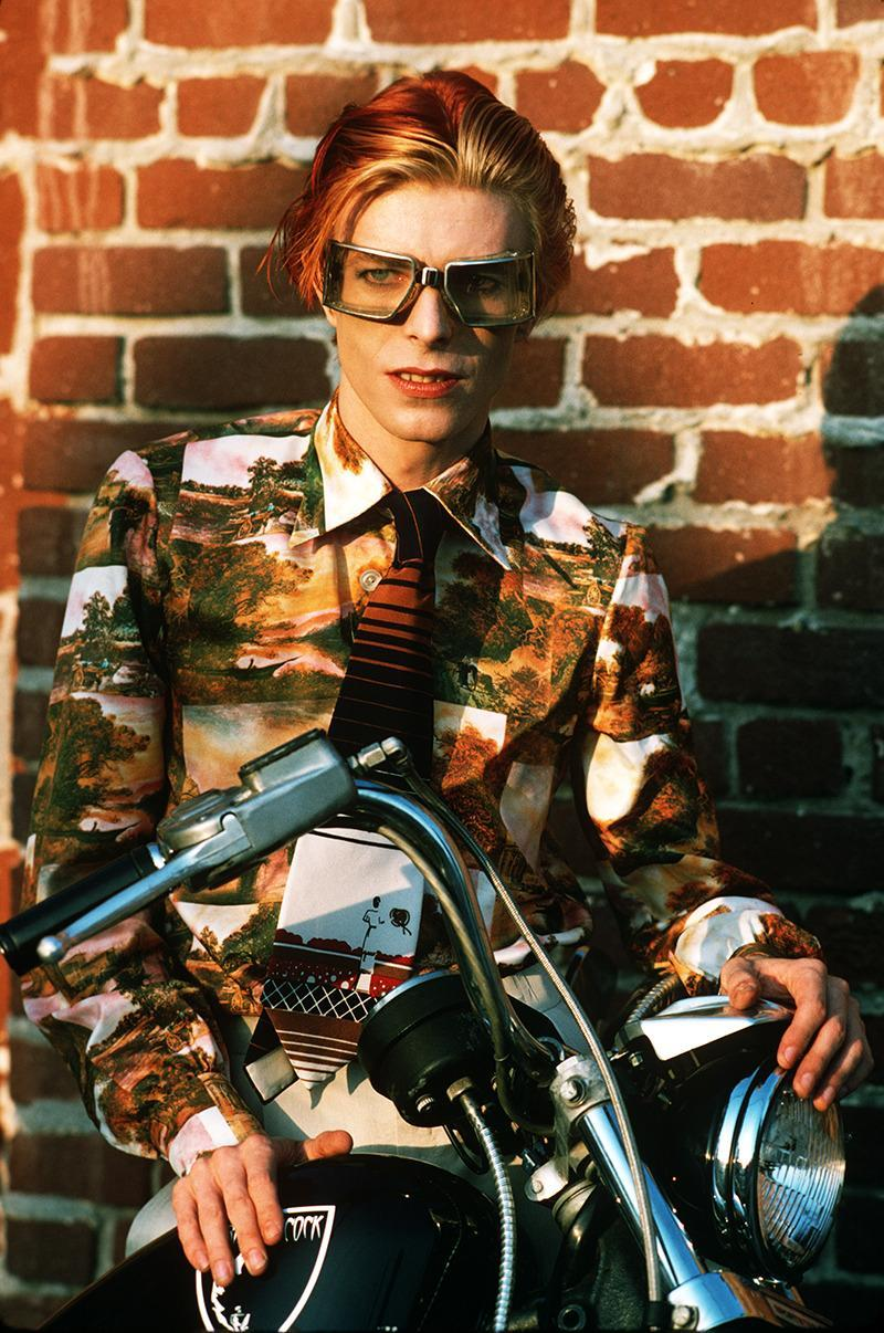 """""""David with goggles and bike. Los Angeles, 1974."""""""