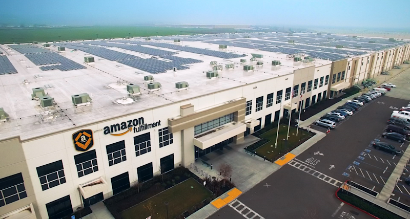 A birds-eye view of an Amazon Fulfillment Center.
