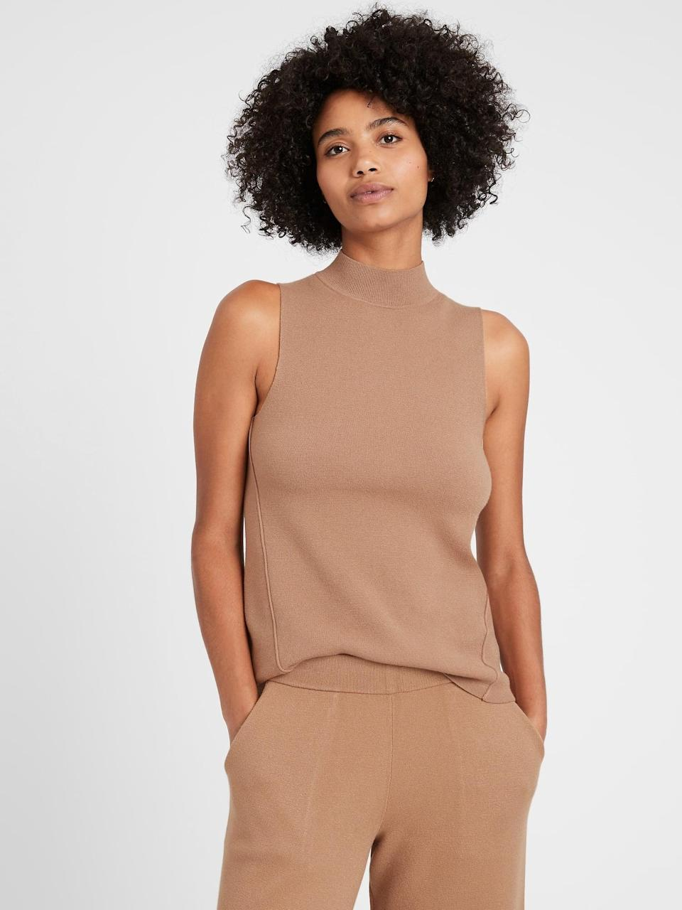 <p>This <span>Mock-Neck Sweater Shell</span> ($53, originally $60) oozes effortless style and confidence.</p>