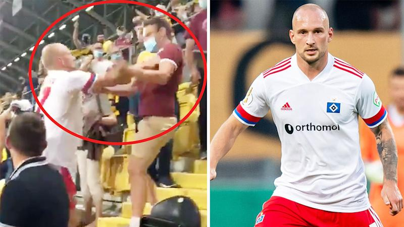 Hamburg's Toni Leistner (pictured left) confronting a fan after the match and (pictured right) dribbling the ball.