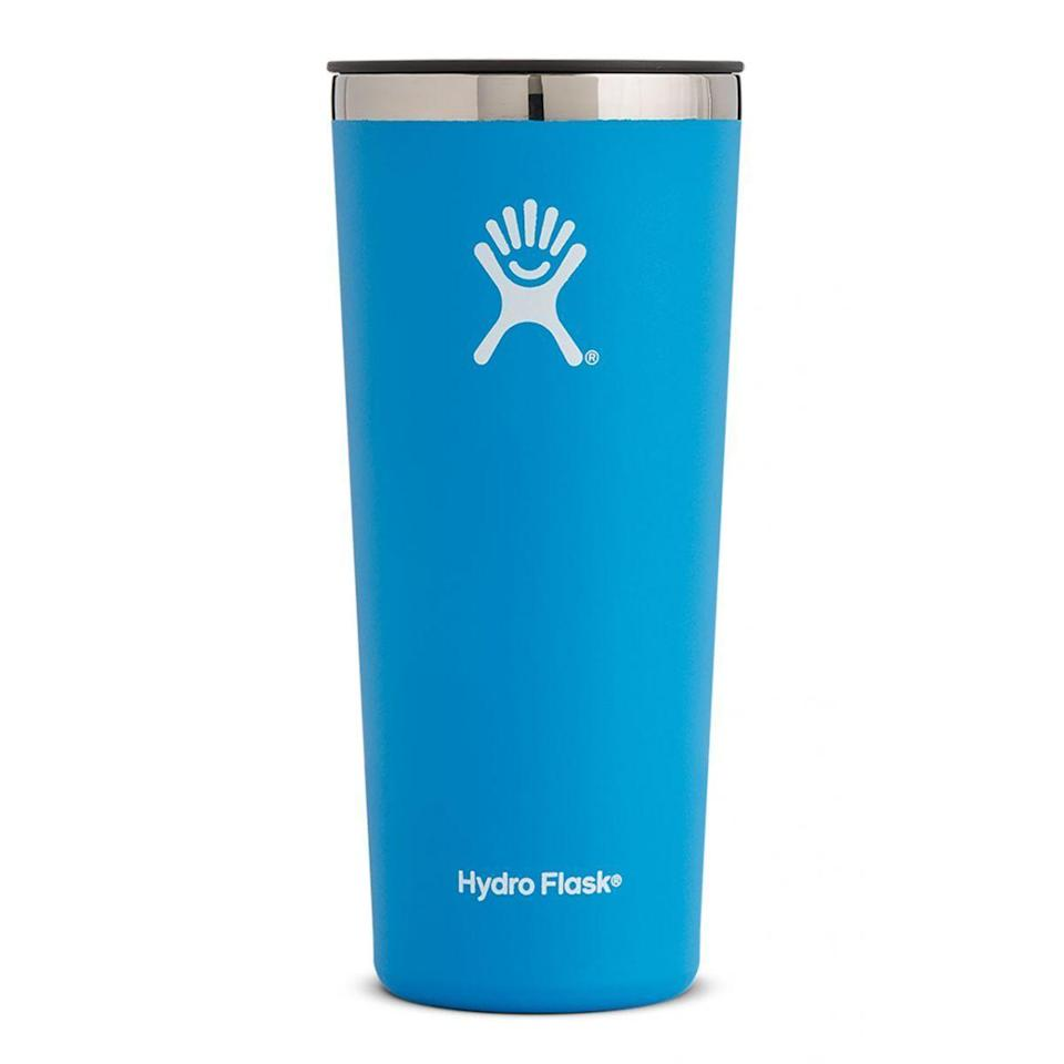 """<p><strong>Hydro Flask </strong></p><p>hydroflask.com</p><p><a href=""""https://go.redirectingat.com?id=74968X1596630&url=https%3A%2F%2Fwww.hydroflask.com%2Fhydro-flask-22-oz-tumbler-pacific&sref=https%3A%2F%2Fwww.runnersworld.com%2Fgear%2Fg32969897%2Fhydro-flask-sale-50-percent-off%2F"""" rel=""""nofollow noopener"""" target=""""_blank"""" data-ylk=""""slk:Shop Now"""" class=""""link rapid-noclick-resp"""">Shop Now</a></p><p><del>$29.95</del><strong><br>$22.46</strong></p><p>If you ask me, this large tumbler is perfect for a refreshing glass of freshly squeezed lemonade after your workout.</p>"""