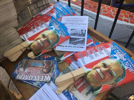 Placards bearing the image of Oscar Lopez Rivera are seen readied for a party, after his release from house arrest in Puerto Rico, ahead of his return to Chicago, Illinois, U.S. May 18, 2017.  REUTERS/Timothy McLaughlin