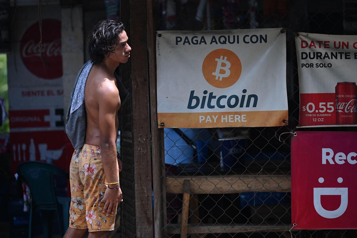 A man is seen in a store where bitcoins are accepted in El Zonte, La Libertad, El Salvador on September 4, 2021. - The Congress of El Salvador approved in June a law that will make bitcoin legal tender in the country from September 7, with the aim of boosting its economy although analysts warn of a negative impact. (Photo by MARVIN RECINOS / AFP) (Photo by MARVIN RECINOS/AFP via Getty Images)