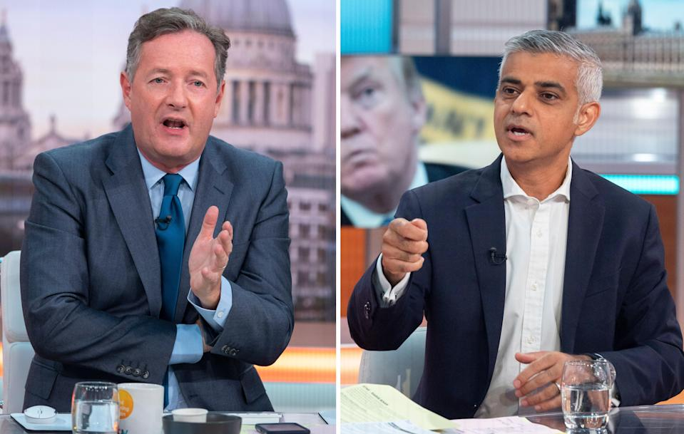 Piers Morgan and Sadiq Khan engage in heated debate over Donald Trump's visit to the UK. (REX)