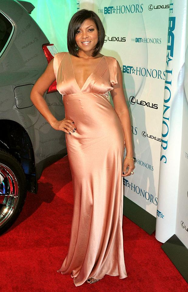 """At the 3rd Annual BET Honors gala in Washington, D.C., """"I Can Do Bad All By Myself"""" minx Taraji Henson popped a pose in a plunging Alberta Ferretti gown and a delicate 'do. Brandon Todd/<a href=""""http://www.splashnewsonline.com"""" target=""""new"""">Splash News</a> - January 16, 2010"""