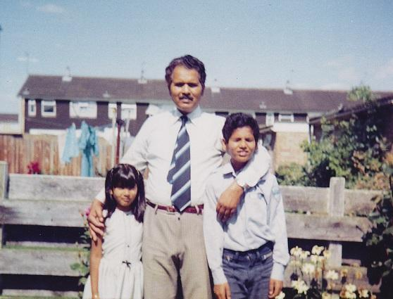 Manzoor, right, with his father and sister