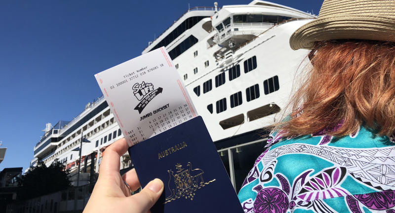 Set For Life Winner with a passport about to go on a cruise.