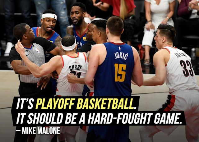 """Denver Nuggets head coach Mike Malone brushed off the <a href=""""https://sports.yahoo.com/nuggets-mike-malone-seth-curry-160003469.html"""" data-ylk=""""slk:Seth Curry and Will Barton scuffle;outcm:mb_qualified_link;_E:mb_qualified_link"""" class=""""link rapid-noclick-resp yahoo-link"""">Seth Curry and Will Barton scuffle</a> in Game 7, because things get emotional for what's at stake."""