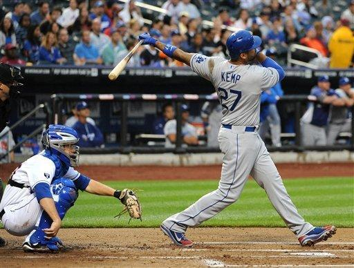 Los Angeles Dodgers center fielder Matt Kemp (27) hits a two-run home run off of New York Mets starting pitcher Johan Santana in the first inning of a baseball game on Firday, July 20, 2012, at Citi Field in New York. (AP Photo/Kathy Kmonicek)