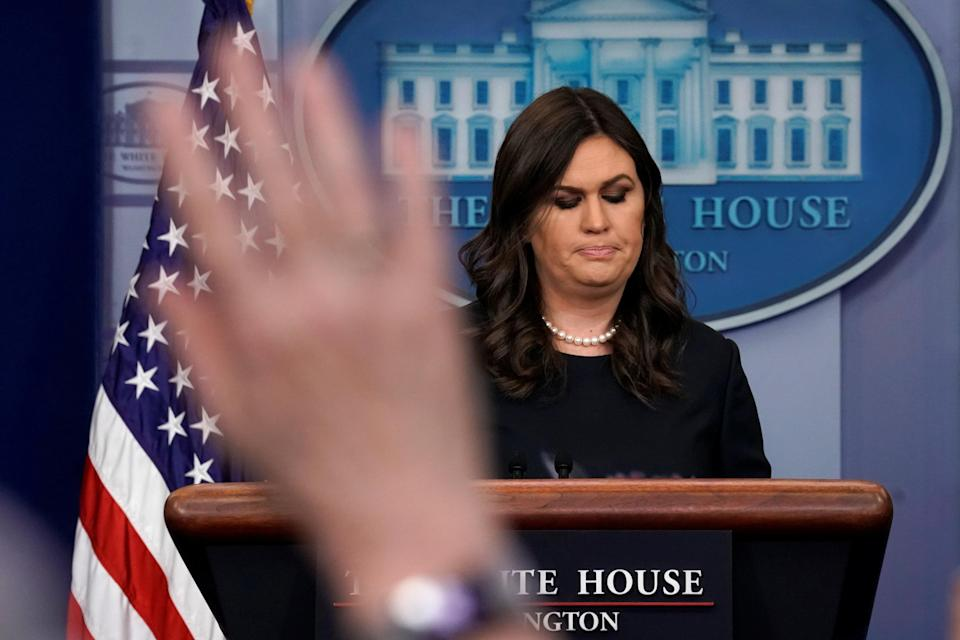 White House press secretary Sarah Sanders holds the daily briefing. (Photo: Carlos Barria/Reuters)