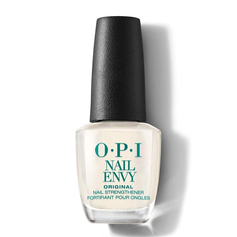 """<p><strong>OPI</strong></p><p>amazon.com</p><p><strong>$16.89</strong></p><p><a href=""""https://www.amazon.com/dp/B00178TVXG?tag=syn-yahoo-20&ascsubtag=%5Bartid%7C10058.g.33762832%5Bsrc%7Cyahoo-us"""" rel=""""nofollow noopener"""" target=""""_blank"""" data-ylk=""""slk:SHOP IT"""" class=""""link rapid-noclick-resp"""">SHOP IT</a></p><p>Nails keep breaking? Ugh, that's the worst. OPI's Nail Envy puts a stop to it with this clear coat that contains hydrolyzed wheat protein and calcium to help them grow longer and stronger. </p>"""