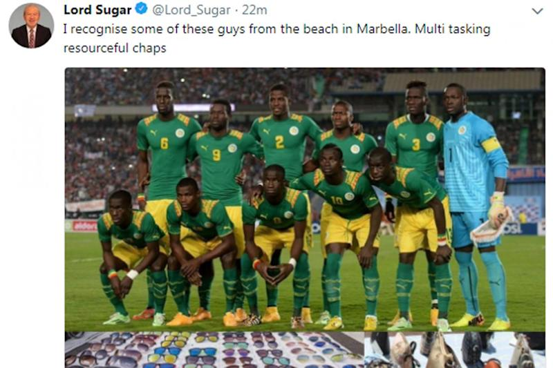 Lord Sugar later deleted the 'racist' tweet (Twitter)