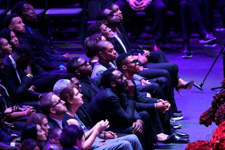 Rockets players James Harden and Russell Westbrook attend the Celebration of Life for Kobe and Gianna Bryant at the Staples Center (AFP Photo/KEVORK DJANSEZIAN)