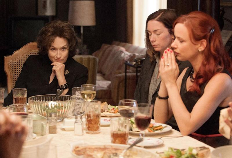 """This image released by The Weinstein Company shows, from left, Meryl Streep, Julianne Nicholson and Juliette Lewis in a scene from """"August: Osage County."""" Steve McQueen's historic saga """"12 Years a Slave,"""" Jon Wells' dysfunctional family adaptation """"August: Osage County, Jean-Marc Vallee's early AIDS epidemic drama """"Dallas Buyers Club"""" the White House servant tale """"Lee Daniel's The Butler"""" top the list of outstanding performances for the 20th annual Screen Actors Guild Awards with three nominations each. (AP Photo/The Weinstein Company, Claire Folger)"""