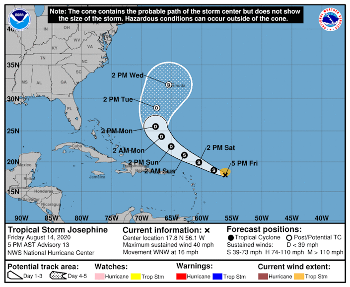 Tropical Storm Josephine 'out of time' to strengthen.