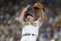 San Diego Padres relief pitcher Mark Melancon (33) celebrates after the Padres beat the Los Angeles Dodgers 5-3 in a baseball game Wednesday, June 23, 2021, in San Diego. (AP Photo/Denis Poroy)