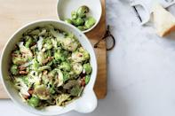 """Crunchy raw broccoli and Brussels sprouts meet their match in a punchy triumvirate of olives, anchovies, and lemon juice that make for a delicious Thanksgiving side dish. <a href=""""https://www.epicurious.com/recipes/food/views/broccoli-and-brussels-sprouts-slaw?mbid=synd_yahoo_rss"""" rel=""""nofollow noopener"""" target=""""_blank"""" data-ylk=""""slk:See recipe."""" class=""""link rapid-noclick-resp"""">See recipe.</a>"""