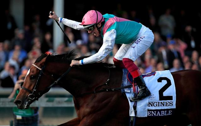 Frankie Dettori punches the air on history-maker Enable at the Breeders Cup (AFP Photo/ANDY LYONS)