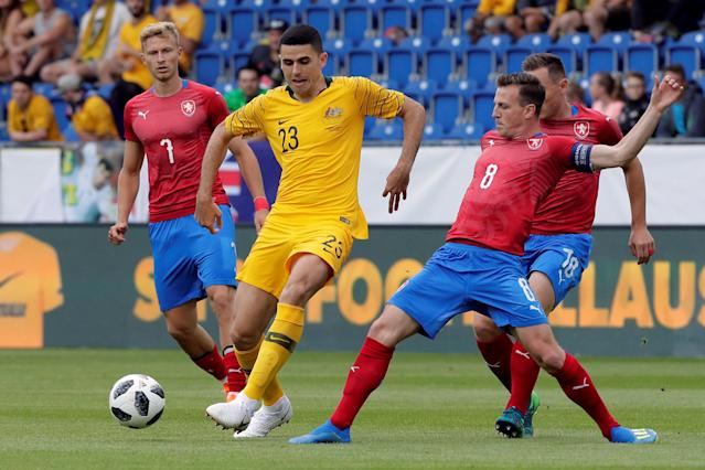 Soccer Football - International Friendly - Czech Republic v Australia - NV Arena, Sankt Polten, Austria - June 1, 2018 Australia's Tomas Rogic in action with Czech Republic's Vladimir Darida REUTERS/Heinz-Peter Bader