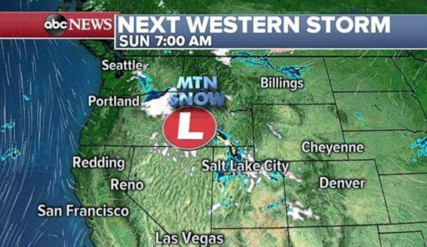 PHOTO: Mountain snow is moving into the Northern Rockies and Southern Cascades on Sunday morning. (ABC News)