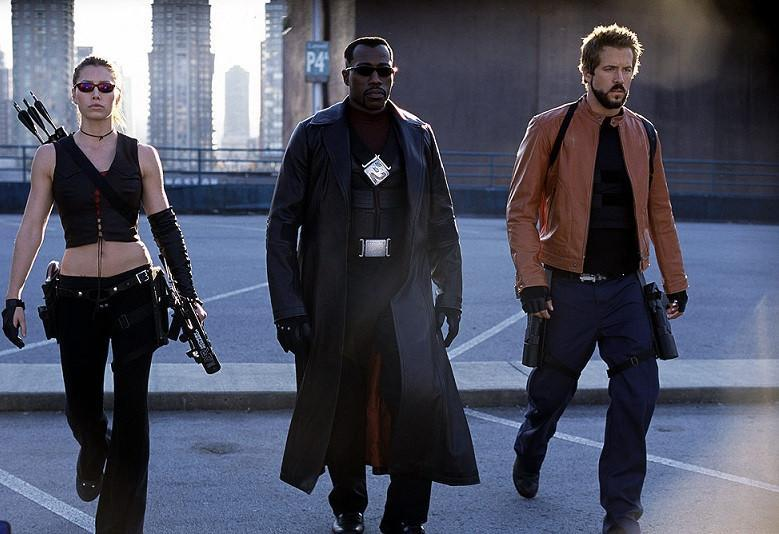 Jessica Biel, Wesley Snipes and Ryan Reynolds in 2004's troubled 'Blade: Trinity' (credit: New Line Cinema)