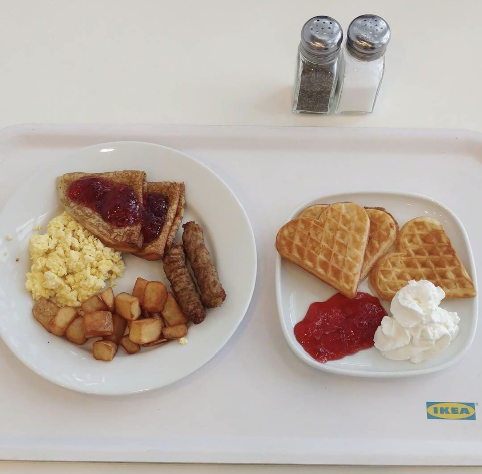 "<p>If you happen to be an early-bird, IKEA's traditional breakfast is the cheapest route. The dollar deal includes eggs, potatoes, and meat. You can even splurge and add toast or a waffle for a few extra bucks.</p><p>Photo: Instagram/<a href=""https://www.instagram.com/p/BTFM1b1FnAq/"" rel=""nofollow noopener"" target=""_blank"" data-ylk=""slk:IkeaUSA"" class=""link rapid-noclick-resp"">IkeaUSA</a></p>"