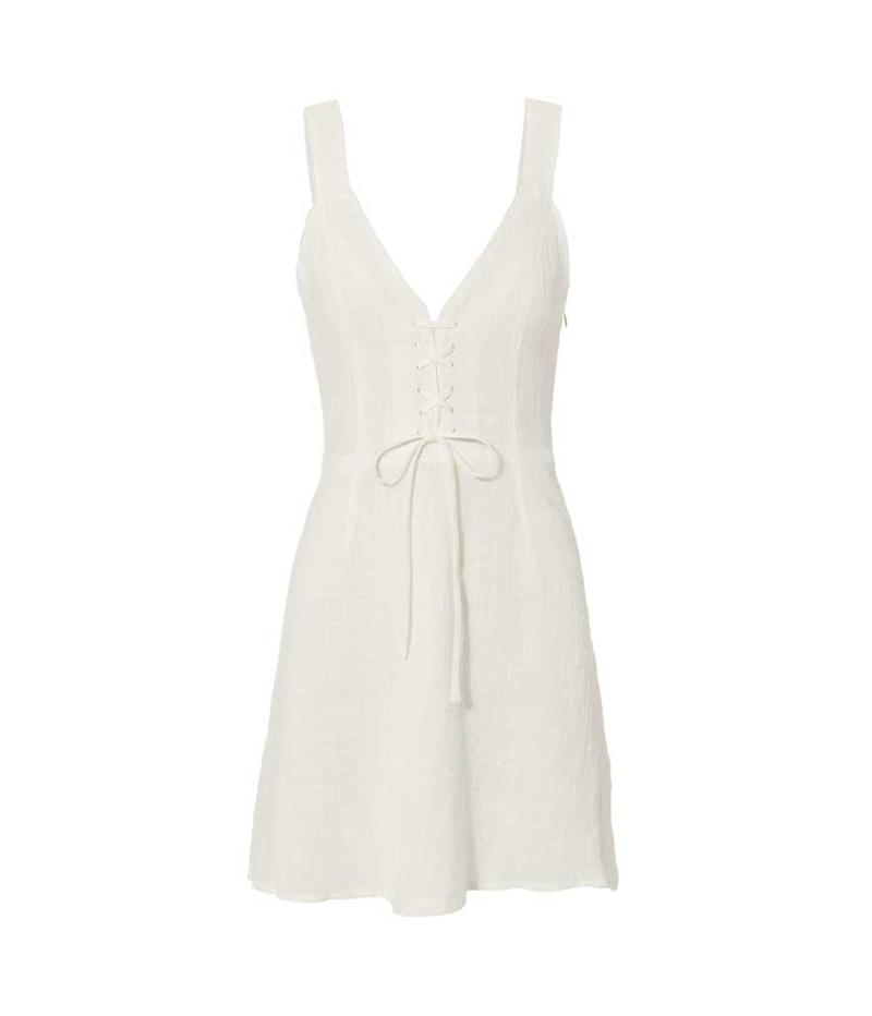 Lightweight lace up white dress for date night. (Photo: The East Offer/Intermix)