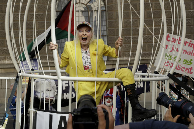 Designer Vivienne Westwood Leads Protest Supporting Assange