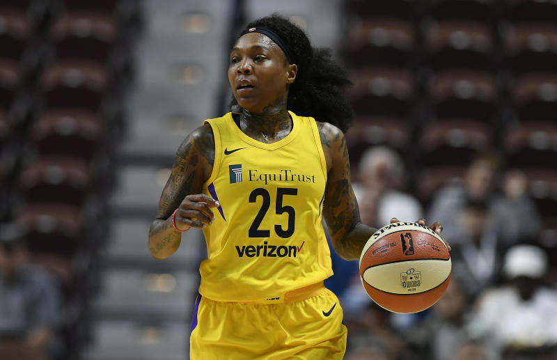 Los Angeles Sparks' Cappie Pondexter during a preseason WNBA basketball game.