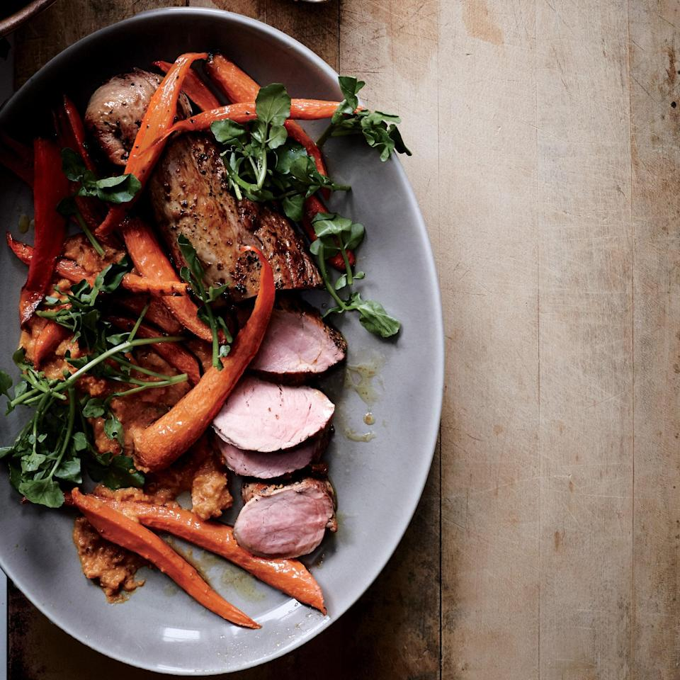 """Romesco is to Spain what pesto is to Italy. Typically made with red peppers, this carrot version led to some new ideas. <a href=""""https://www.epicurious.com/recipes/food/views/roast-pork-tenderloin-with-carrot-romesco-51231850?mbid=synd_yahoo_rss"""" rel=""""nofollow noopener"""" target=""""_blank"""" data-ylk=""""slk:See recipe."""" class=""""link rapid-noclick-resp"""">See recipe.</a>"""