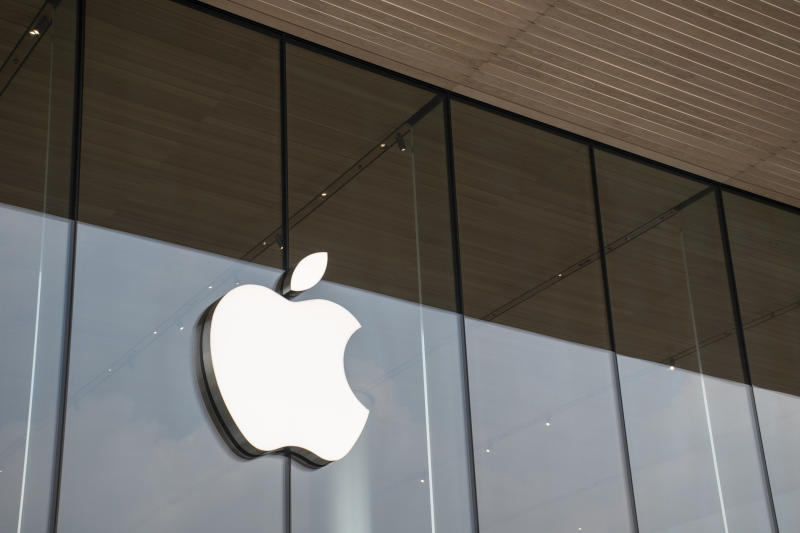 Bangkok, Thailand 21/12/2018 The logo of Apple brand in front ot First Apple store in Bangkok, Thailand.
