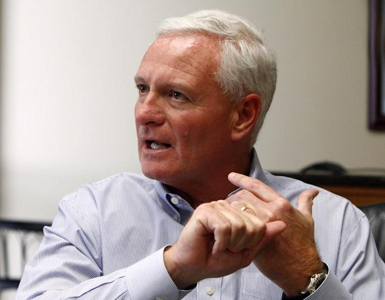 Jimmy Haslam, CEO of Pilot Flying J, speaks during a press conference at the company headquarters Friday, April 19, 2013 in Knoxville, Tenn. A Pilot Flying J employee told investigators that CEO Jimmy Haslam, who is also the owner of the Cleveland Browns, knew about rebate fraud at the truck stop chain his family owns, according to an FBI affidavit unsealed Thursday. (AP Photo/Wade Payne)