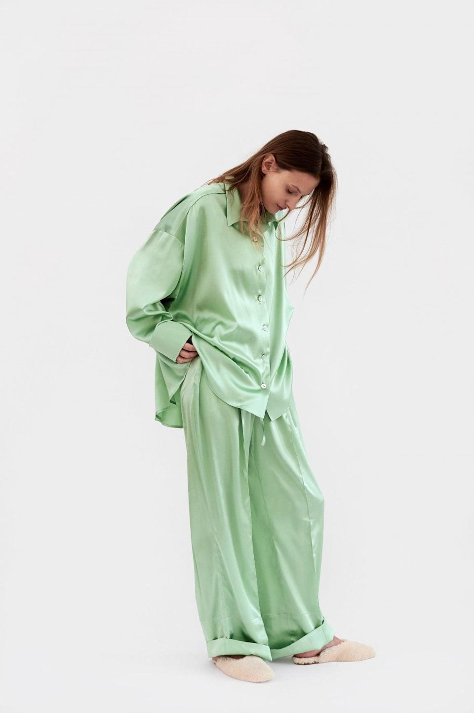 """<p>""""Wearing pajamas outside is definitely a thing. I love this <span>Sleeper """"Sizeless"""" Pajama Set with Pants in Mint</span> ($285) because they don't look like traditional pajamas - they look so silky and are perfect for socially distanced hangouts.""""</p>"""