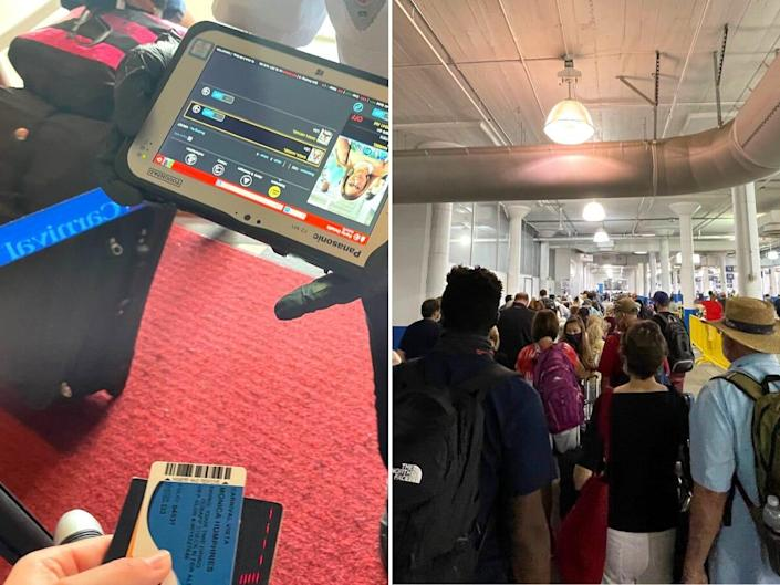 A Carnival employee scans my card to mark that I exited the ship; crowds form in the terminal as we disembark.